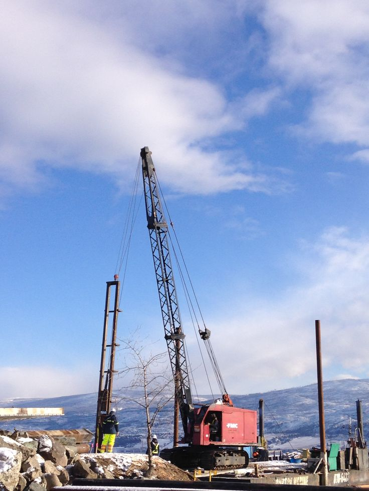 Photos of Burton Marine pile driving and constructing the new Gellatley Bay Public Dock. It was where the old CNR Ferry dock was.