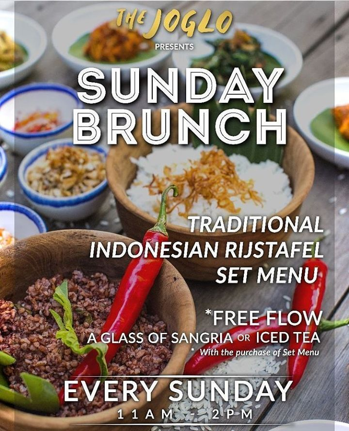 Best thing about weekends - SUNDAYS of course! Celebrate your funday on our Sunday brunch with our impeccable Indonesian Rijstafel accompanied by our free flow Ice tea or complimentary glass of Sangria all happening between 11am-2pm! Happy weekend ya'all!  food #bali #holiday #sundaybrunch #traveling #wanderlust #globetrotter #travel #travelblogger #flatlays #flatlay #flatlayoftheday #lunch #yummy #acolorstory #foodlover #tumblr #foodforfoodie #live #foodie #foodblogger #madeswarung…