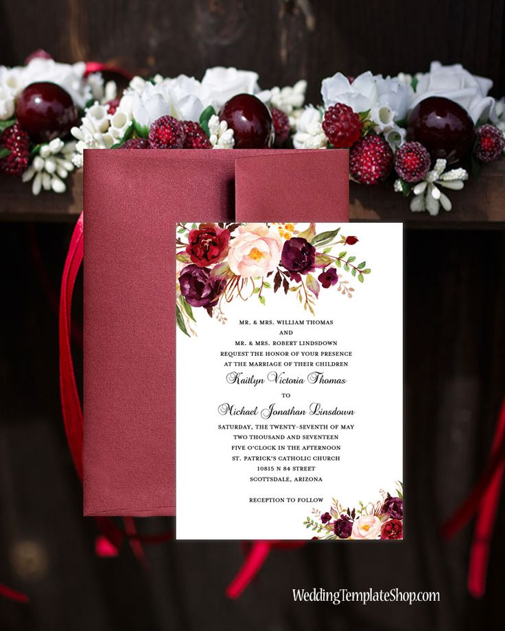 Printable Wedding Invitation Romantic Blossoms Burgundy Red