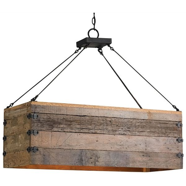 Natural Rustic Lodge Rectangular Wood Cart 3 Light Island Pendant ($1,060) ❤ liked on Polyvore featuring home, lighting, ceiling lights, rectangular chandelier, rectangle chandelier, wooden chandeliers, wood chandelier and island chandeliers