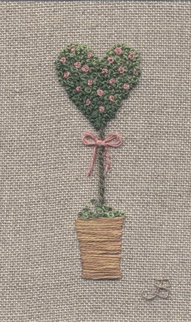 Jo Butcher, Embroidery Artist - Rose Heart Topiary