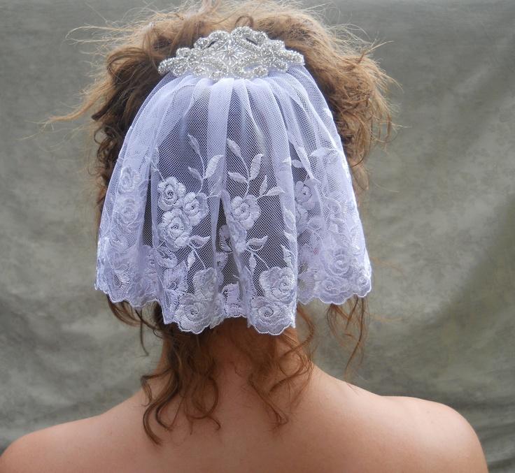 White Embroidered Lace Mini Mantilla Veil Head Piece