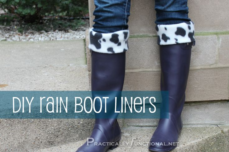 DIY Rain Boot Liners: A simple step by step tutorial to make fleece rain boot liners with a fun, patterned cuff!