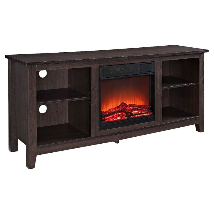 Wood TV Stand With Fireplace - Espresso (58) - Walker Edison, Warm Chocolate