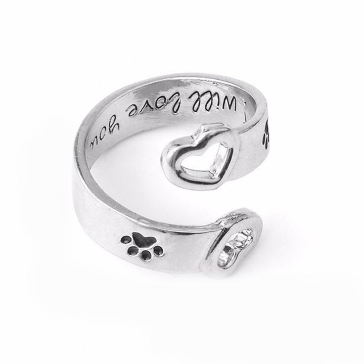 0.7$  Watch more here - I Will Love You Forever Letter Curved Pet Paw Prints Rings Dog Cat Memorial Black Enamel Ring Couple Jewelry   #SHOPPING