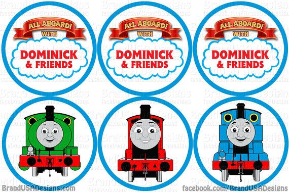 Thomas Train Candy Wrapper Art | Thomas the Train Cupcake Toppers/Favor Tags