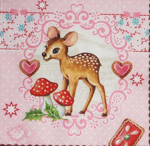 Decoupage napkin bambi paper napkin pink napkin by Napkintime