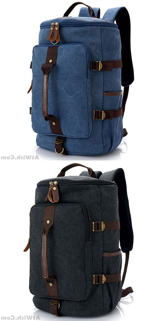 9377b89c54a Retro Men s Gym Shoulder Bag Handbag School Canvas Backpack Multifunction  Zipper Large Capacity Travel Backpack  backpack  Bag  school