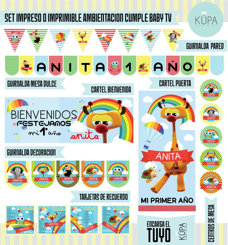 kit imprimible BABY TV printable kit BABY TV www.facebook.com/hola.kupa