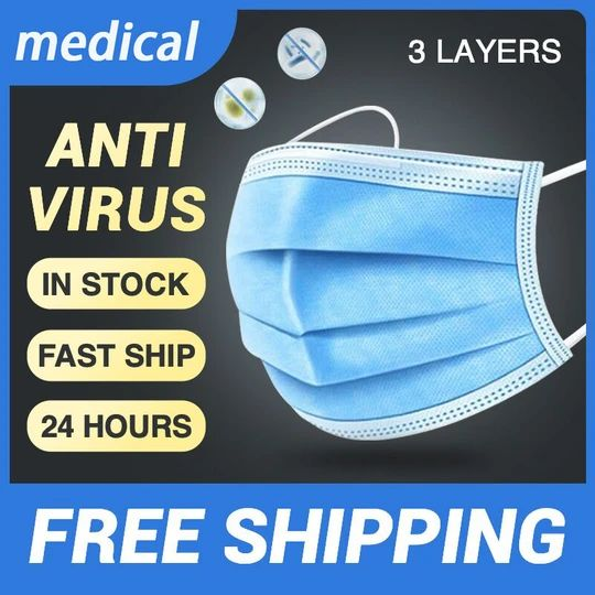 Disposable Medical Face Mouth Mask Fast Shipping within 24