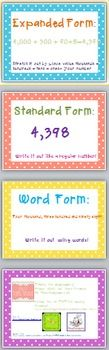 Anchor Chart Posters: expanded form, word form, standard form