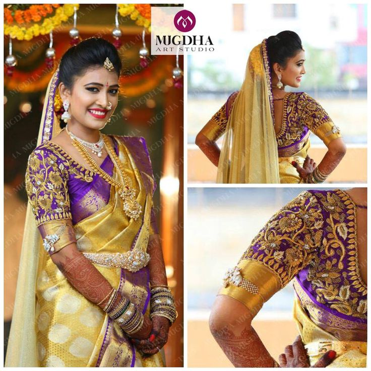 South Indian bride. Gold Indian bridal jewelry.Temple jewelry. Jhumkis.Gold silk kanchipuram sari with contrast purple blouse.Braid with fresh jasmine flowers. Tamil bride. Telugu bride. Kannada bride. Hindu bride. Malayalee bride.Kerala bride.South Indian wedding.