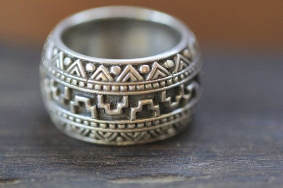 Mens Sterling Silver Ring Band Aztec Style Hand by DonBiuSilver