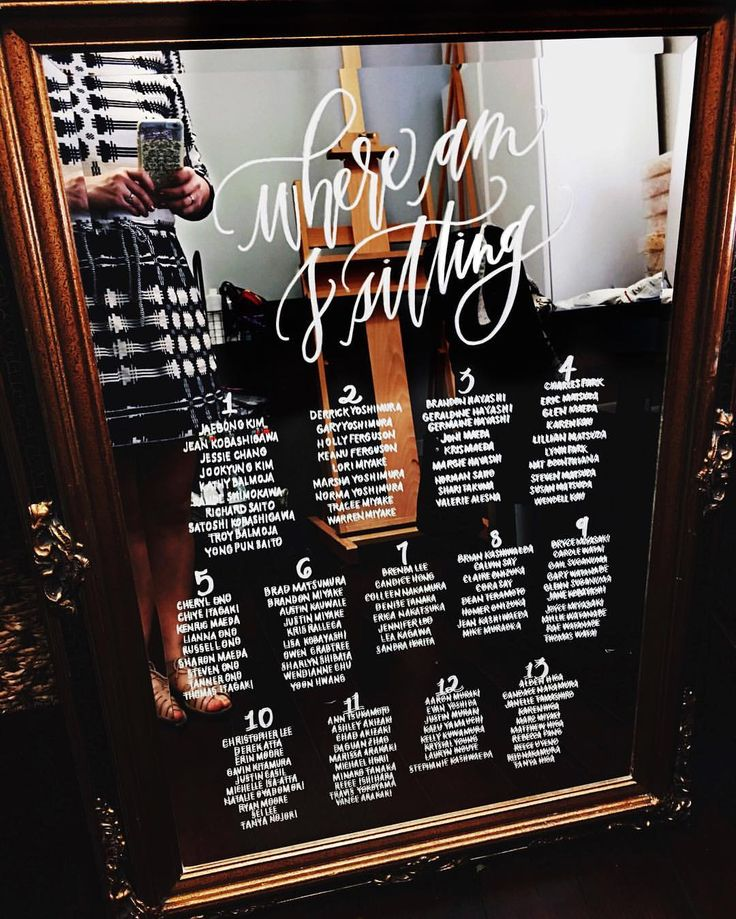 Greet your guests with this beautiful hand lettered mirror seating chart by Hawaii Calligraphy! Available for local pick up in Honolulu only. | Wood, calligraphy, welcome sign, hand lettered, custom sign, wedding decor