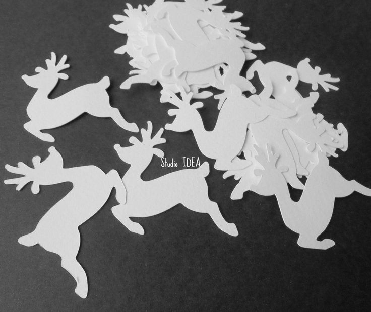 "2""  White Reindeer Cut outs, White Reindeer Winter Embellishments or Choose Your…"