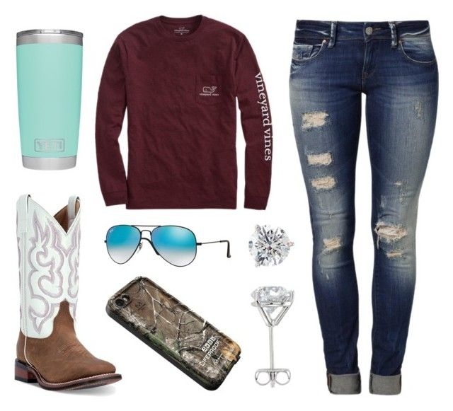 """Today Is Gorgeous!"" by im-a-jeans-and-boots-kinda-girl on Polyvore featuring Vineyard Vines, Mavi, Laredo, Ray-Ban and LifeProof"