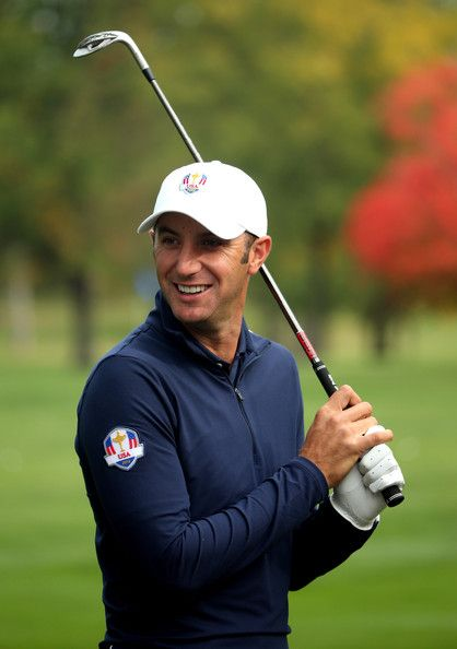 Dustin Johnson Dustin Johnson of the USA waits on the practice ground during the third preview day of The 39th Ryder Cup at Medinah Country Golf Club on September 26, 2012 in Medinah, Illinois.