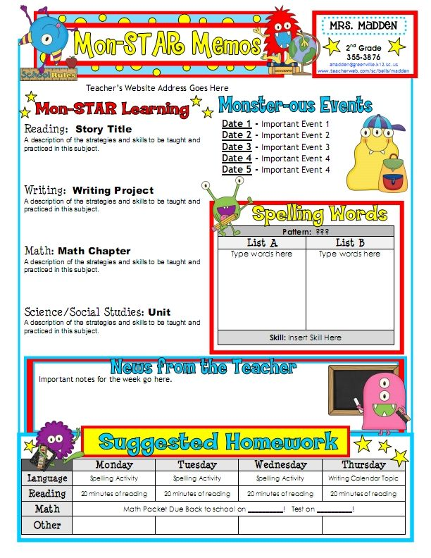 1st Grade Classroom Newsletter Templates   Then, I got my newsletter for the year designed just the way I wanted ...