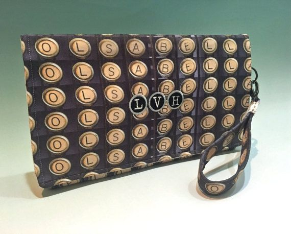 Bags & purses,  handbags, personalized gift for her, monogram purse, round monogram, custom clutch, wristlet wallet, typewriter keys