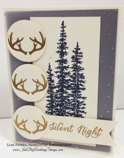 Stampin'Up! Holiday Catalog, Wonderland stamp set, Christmas card, heat embossing, gold, navy, silent night, antlers