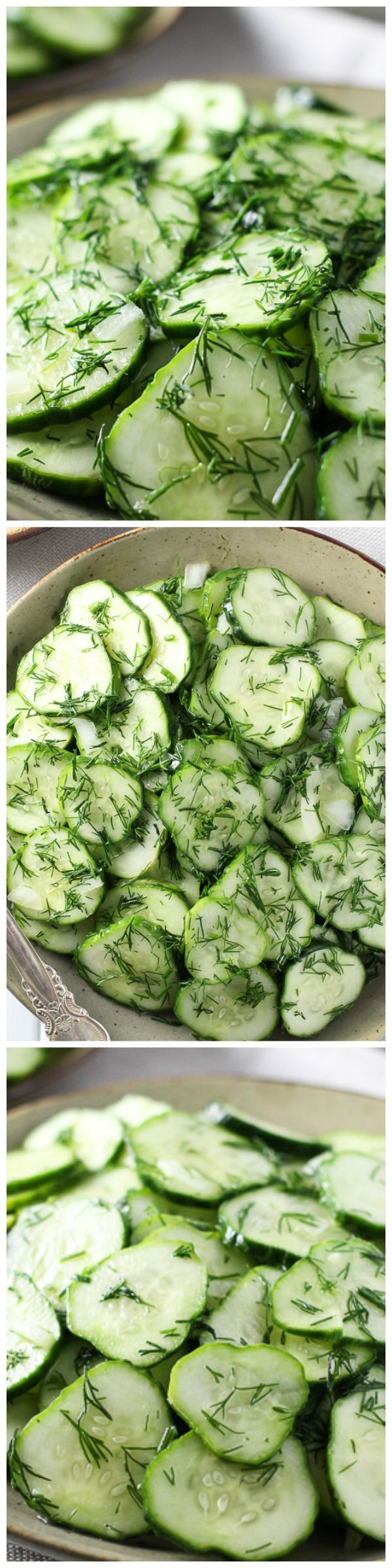German Cucumber #Salad with Dill - This simple salad is nice and tart, super crunchy and refreshing. It's perfect for a family dinner or a party. The leftovers taste great too
