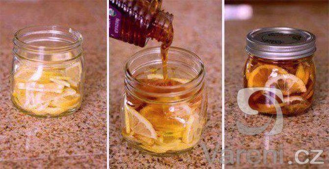 Recept na domácí přírodní lék z medu, citronu a zázvoru.