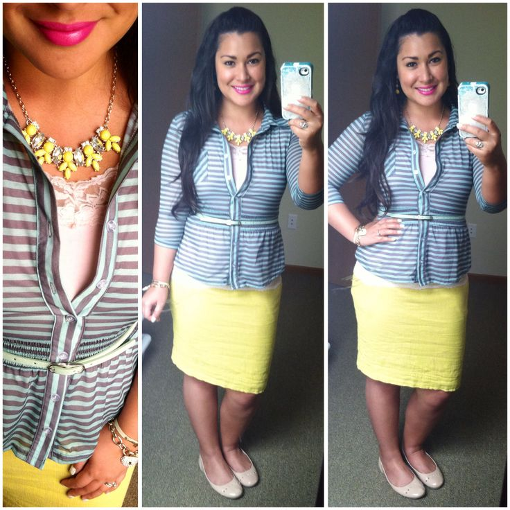 Yellow chartreuse skirt mint and gray striped top yellow statement necklace nude flats modest spring fashion