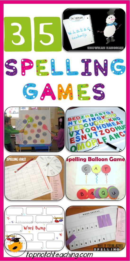 A fantastic roundup of fun spelling games that will suit students of all ages. http://topnotchteaching.com/lesson-ideas/35-spelling-games/