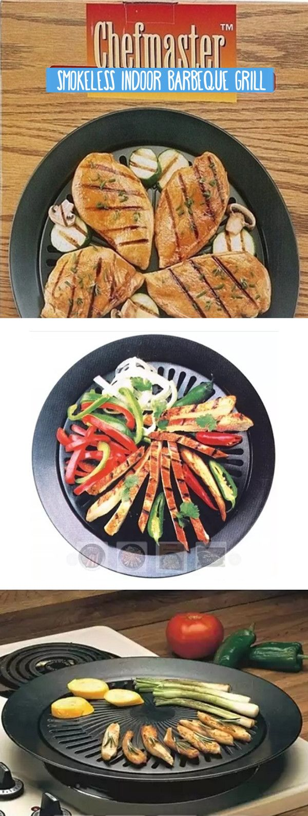 This 13 inch grill with iron plate, works on standard electric, gas or propane stoves. The water-filled outer ring catches fat and juices during cooking, eliminating smoke and splattering. The high quality, non stick surface insures easy clean up. Limited two year warranty. Gift boxed.