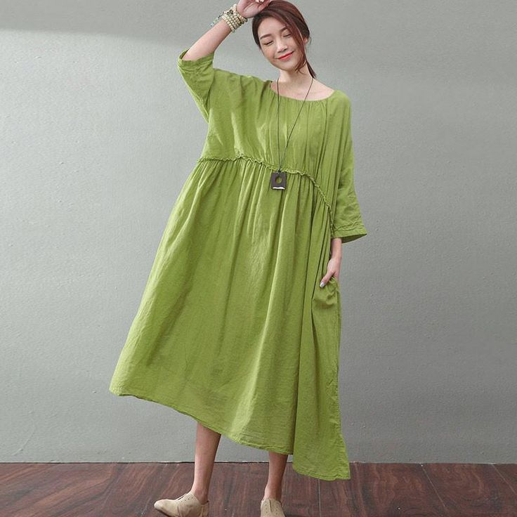 Baggy Solid Lining Pleated Three Quarter Sleeves Women Green Dress