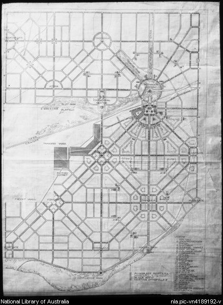 Griffin, Walter Burley, 1876-1937. Mossmain, Montana, U.S.A., polygon town plan [cartographic material]