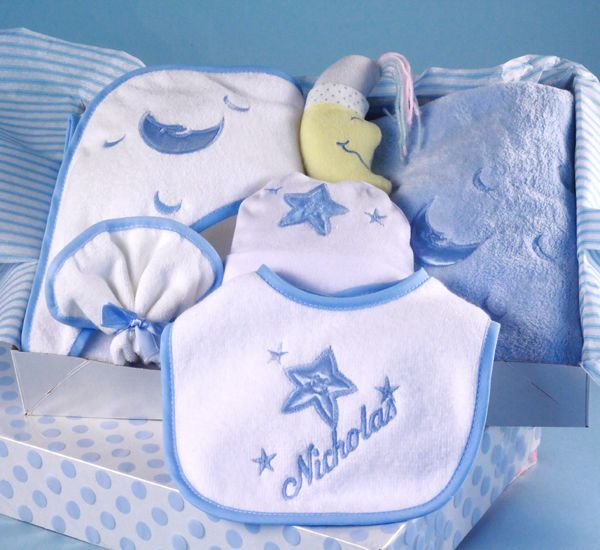 26 best boys baby gift baskets images on pinterest baby boy our moon stars layette for boy is a unique baby gift impress the new parents with this premium quality and personalized baby gift that comes beautifully negle Image collections