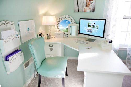 Calming home office: Wall Colors, Corner Desks, Offices Spaces, Tiffany Blue, Office Spac, Workspaces, Offices Ideas, Cute Office, Home Offices