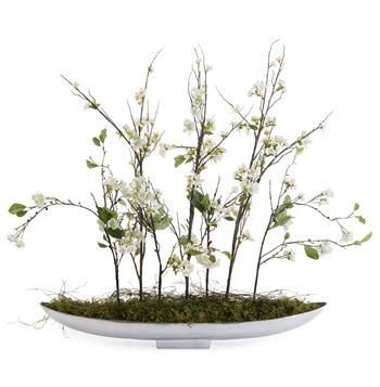 Faux Apple Pear Blossom Flowers in Aluminum Canoe Bowl. #kathykuohome