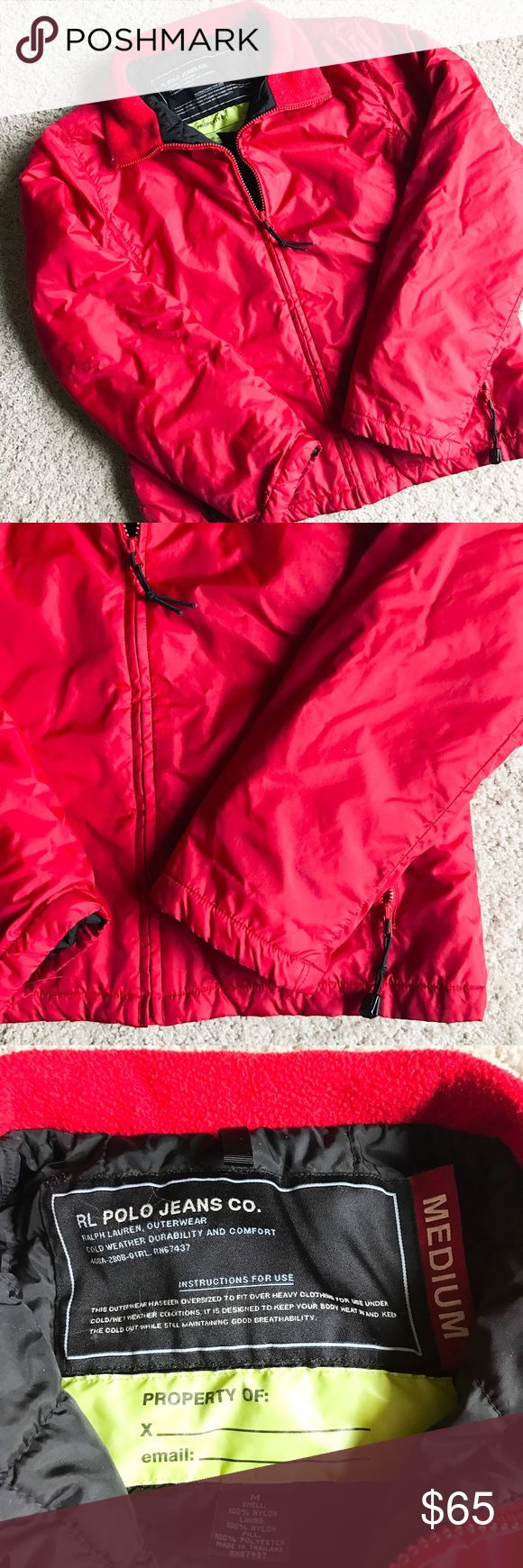 Polo Jeans Ralph Lauren Red Puffer Jacket Warm and sporty puffer jacket from Polo Jeans by Ralph Lauren. Lighter weight puffer so it could work well for spring. Bright red. Logo on back of collar. Size medium. Excellent condition with no signs of excessive wear and no damage at all. Polo by Ralph Lauren Jackets & Coats Puffers