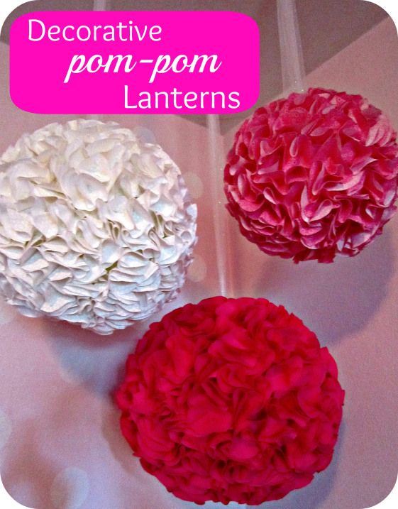 Pom-pom lanterns DIY