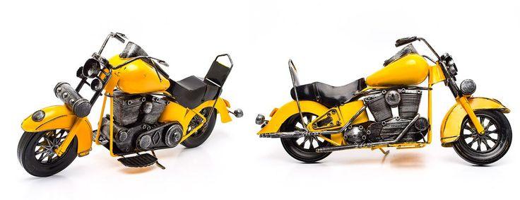 Miniatura Moto Custom Amarela - Machine Cult   A loja das camisetas de carro e moto