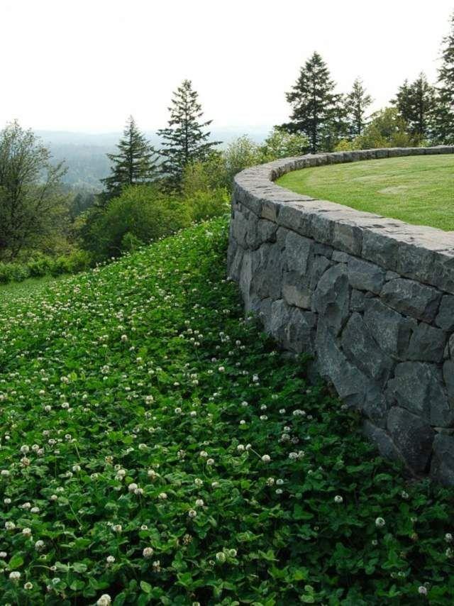 mur de clôture en pierre déco