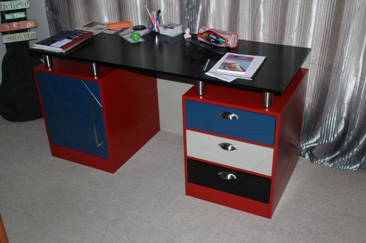 Desk in Red, Royal Blue, Black and white
