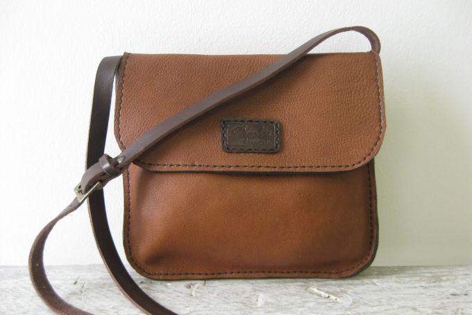 Hand stitched genuine leather cross body sling bag PL2/1 by Peaches handmade (Pty) Ltd on hellopretty.co.za