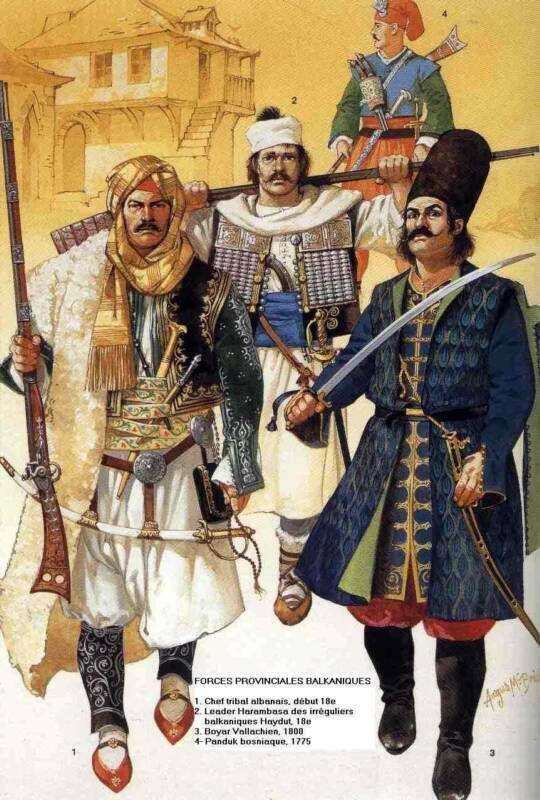 ottomans Forces provinciales Balkanique Ottomane par Osprey 1)Chef tribal albanais début 18eme siècle 2) Leader des Harambasa des irréguliers 3)Panduk Bosniaque 1775