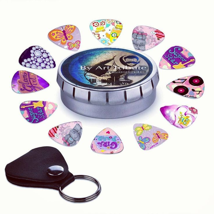 The full girly guitar picks set. Unique colorful designs