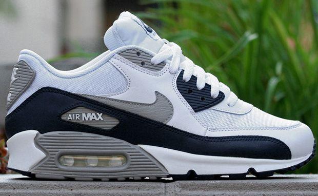 sale retailer 95144 9e4ec ... Nike Air Max 90 Navy Grey   Tênis Masculino   Pinterest   Running shoes,