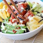 AHI POKE SUSHI BOWLSwith wasabi sauce mango avo forbidden rice cucumber salad and pickled ginger Anyone else as obsessed with poke as I am Its quick and easy to throw together and creates that uniqueexotic dining experience in the comfort of your own home If your local grocery store carries fresh sushigrade ahi or salmon I highly recommend it I posted these bowls on the blog last yeartheyre a staple in my home during the summer when all I want is raw food And that wasabi sauce Its where…
