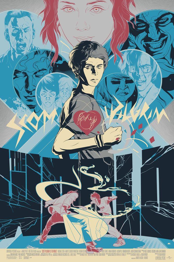 Scott-Pilgrim-vs.-The-World-Screen-Print-by-Martin-Ansin.jpg (1000×1500)