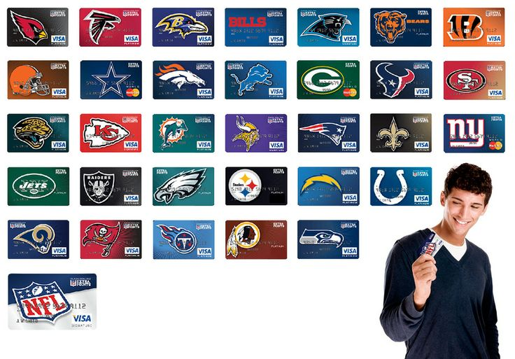 Get your NFL team extra points credit card branded with your favorite football teams logo.