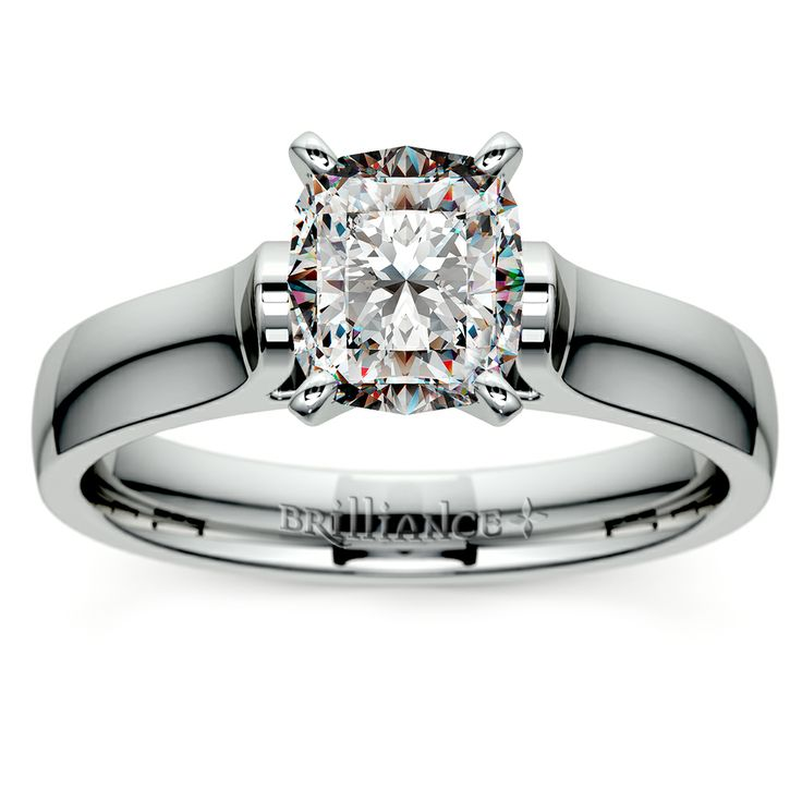Fabulous The Cathedral Cushion cut Solitaire Diamond Engagement