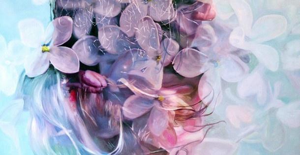 Double exposure foto's omgezet naar romantische schilderijen