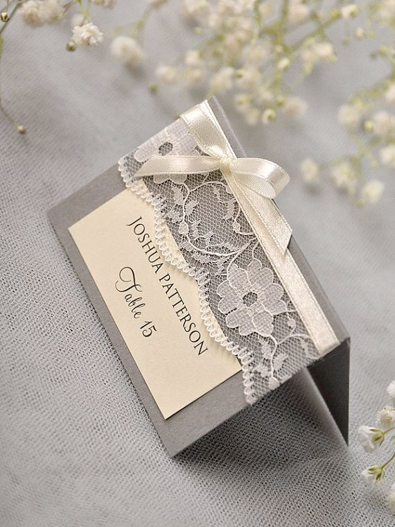 Grey Lace Place Card Vintage Tented Place Cards by 4LOVEPolkaDots, $2.00