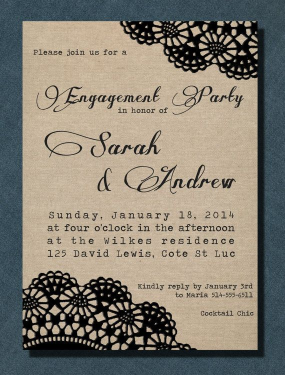 DIY Printable Invitation - Linen Doily Engagement Party, Bridal Shower on Etsy, $22.69 CAD
